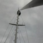 Looking up the forestay